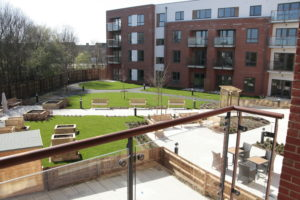 Communal garden at Gordon Collin House retirement accommodation